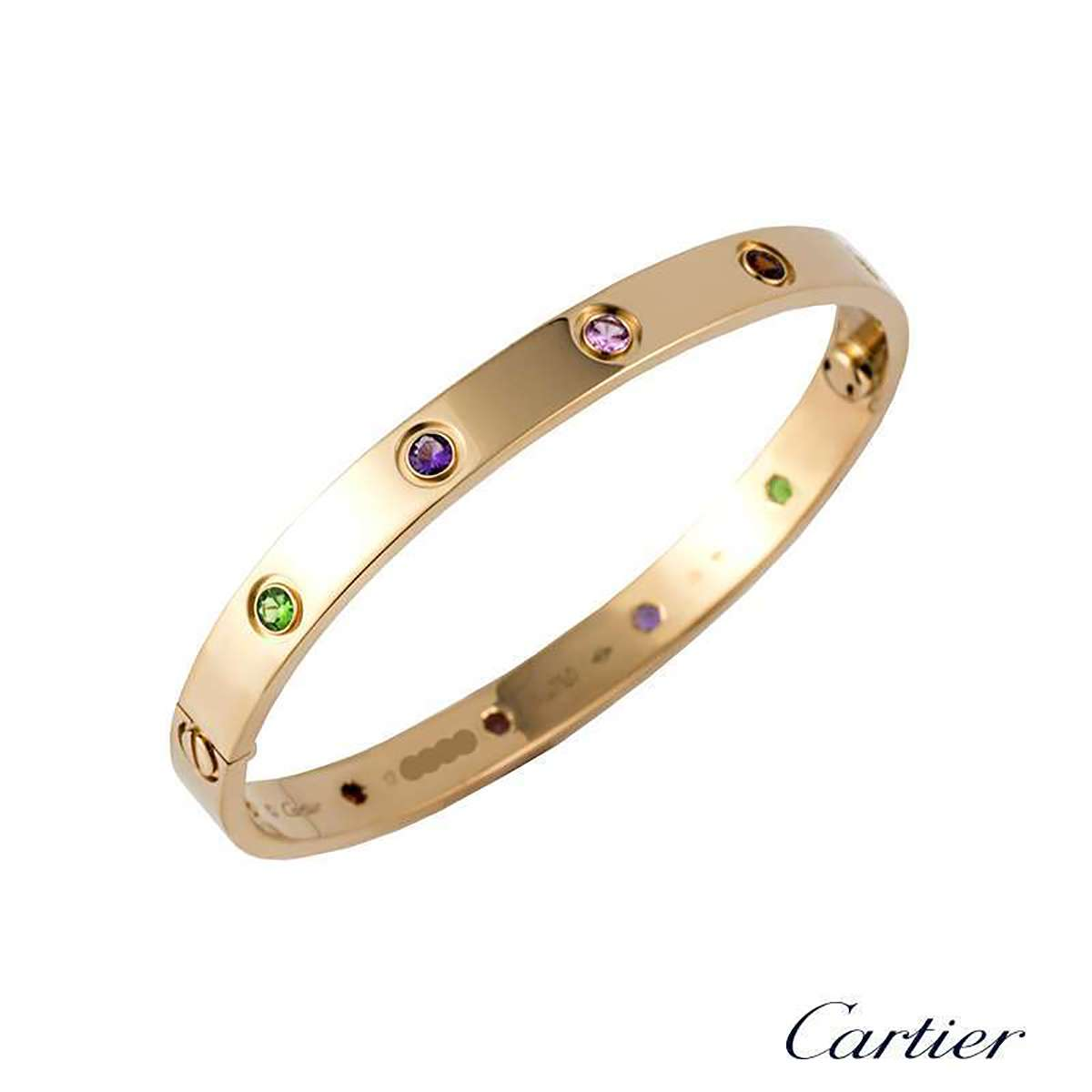Cartier Rose Gold Coloured Stones Love Bracelet Size 16 B6036516